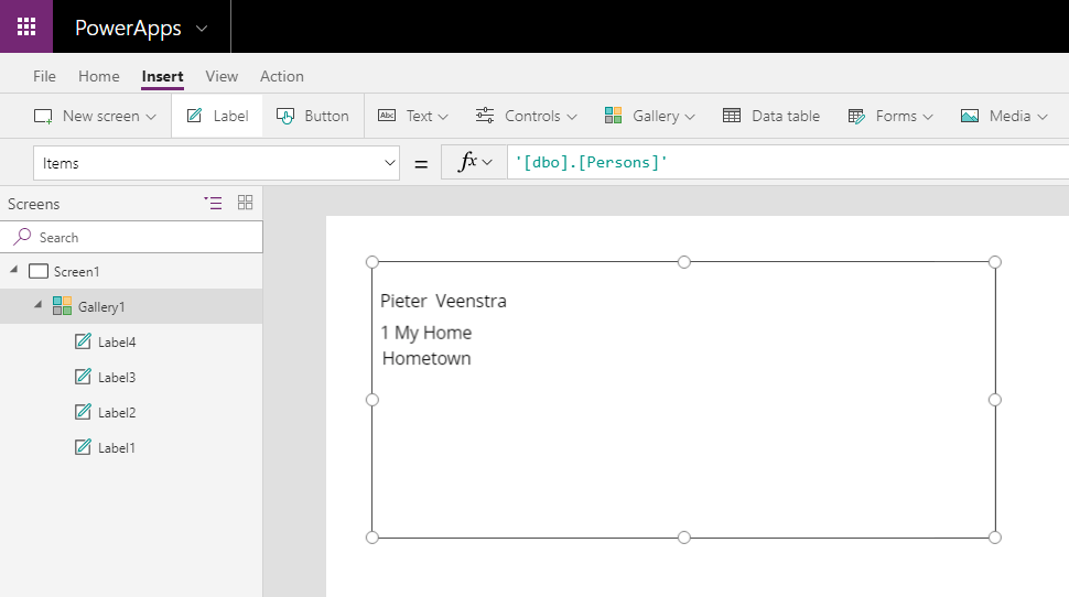 Display the data from my table in PowerApps using a Gallery