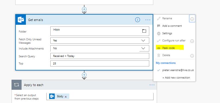 Microsoft Flow – Peek code