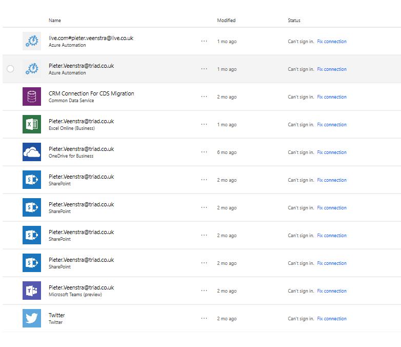 List of broken connections