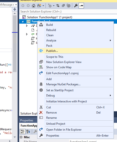 Publish the function in Visual Studio