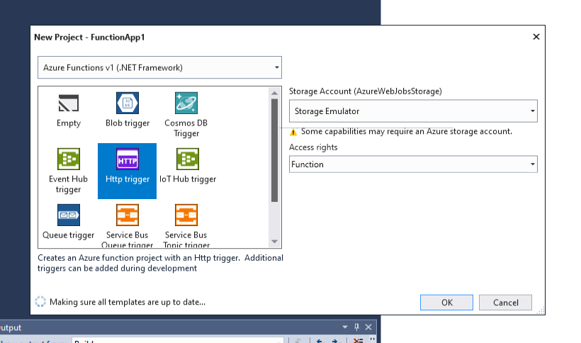 Select a function template i Visual Studio