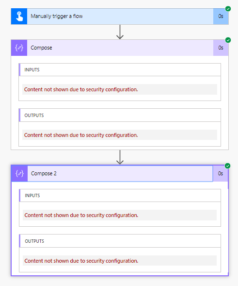 Secure your Input and Output in flows, Content not shown due to security configuration