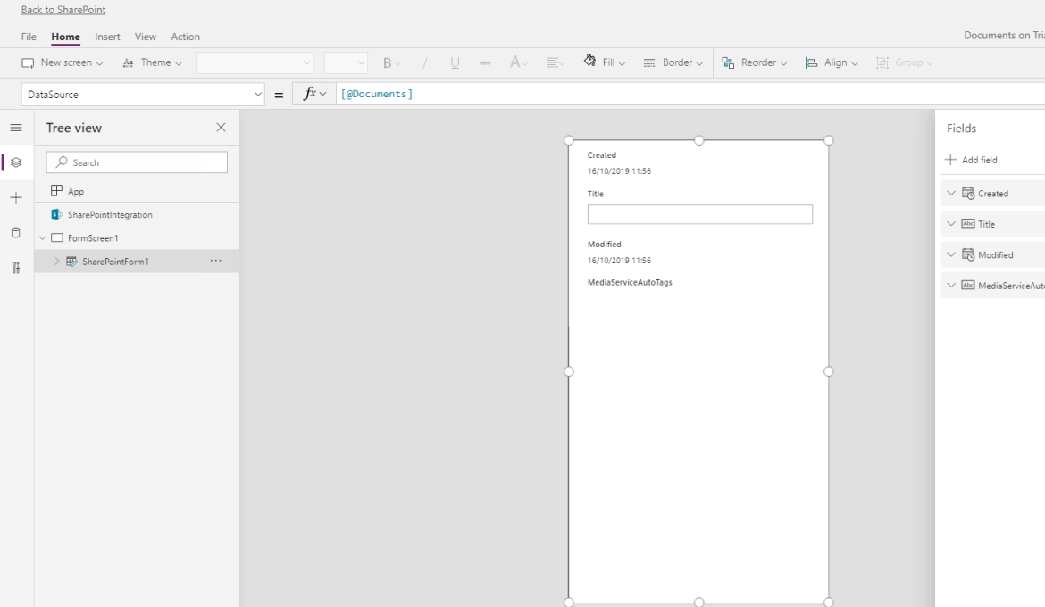 SharePoint custom form in Power Apps
