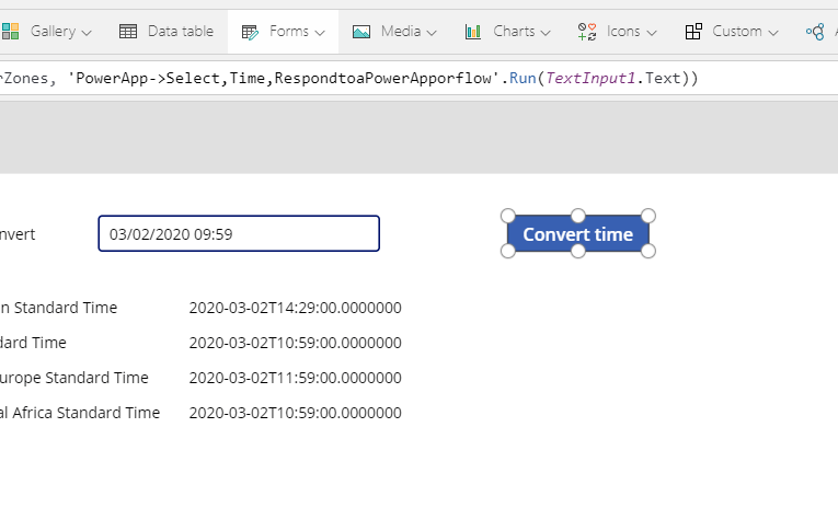 Convert your time faster in Power Apps to all time zones using Power Automate