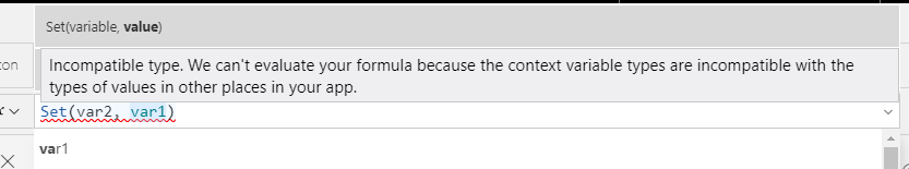 Incompatible Type and Variable Errors in Power Apps 4
