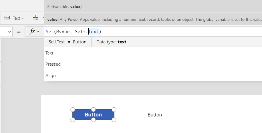 Parent, Self and ThisItem in Power Apps Microsoft Office 365 Setting a variable to Self.Text 2