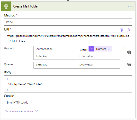 Use mail folders in Microsoft Graph using Power Automate