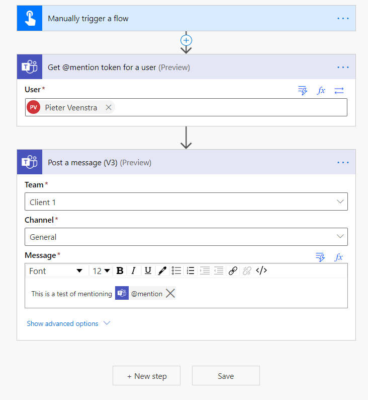 How to @mention someone in Microsoft Teams using Power Automate 1