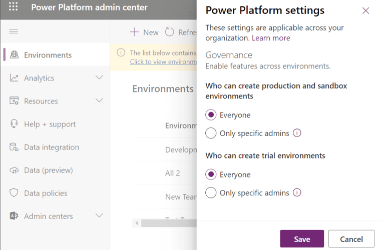 Who can create new environments in the Power Platform