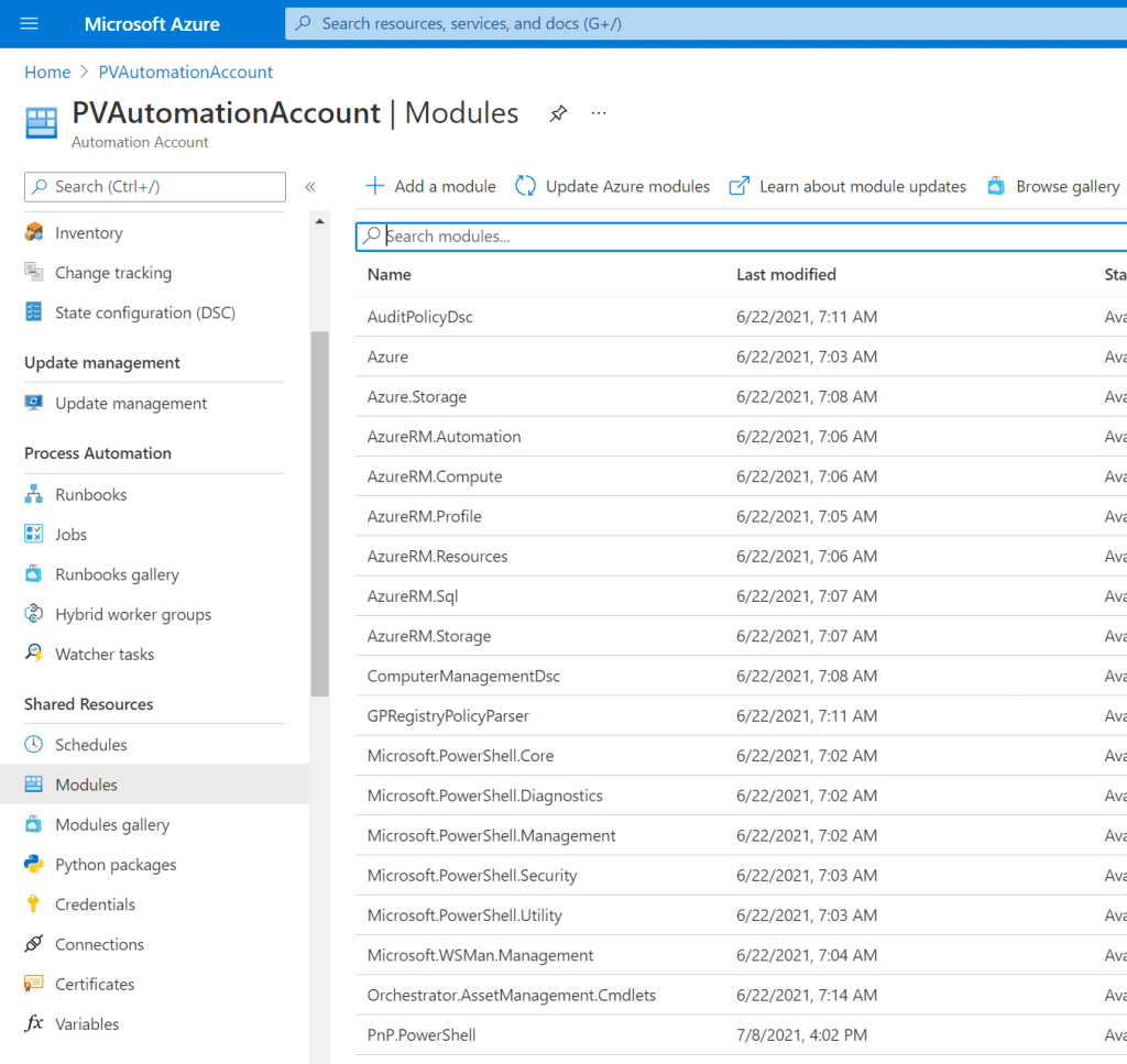 Azure Automation Accounts' module