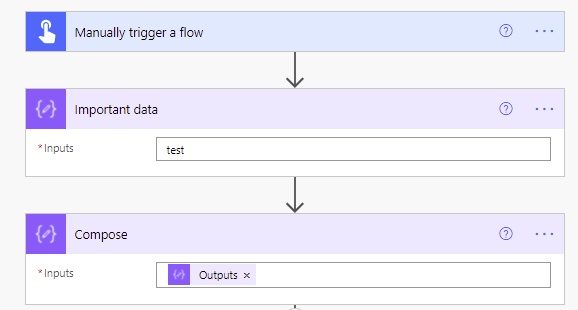 compose actions showing outputs