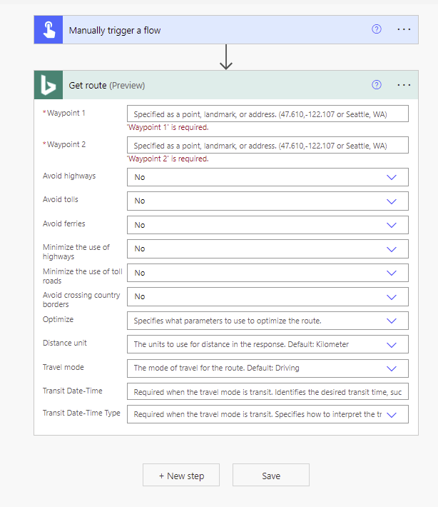 Calculate travel distance using Power Automate Microsoft Office 365 Get Route Accepted the API Key