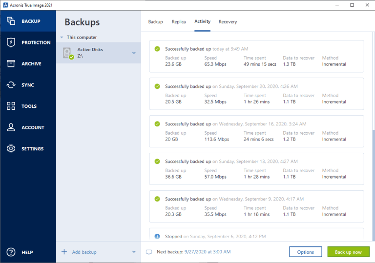 Acronis Backup Intervals