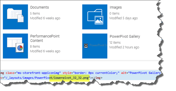 No image for PowerPivot Gallery in all Site Content SharePoint