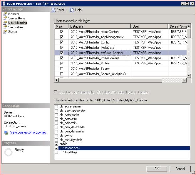 SQL login properties user maping settings