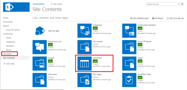 New APPs added in Site Contents after