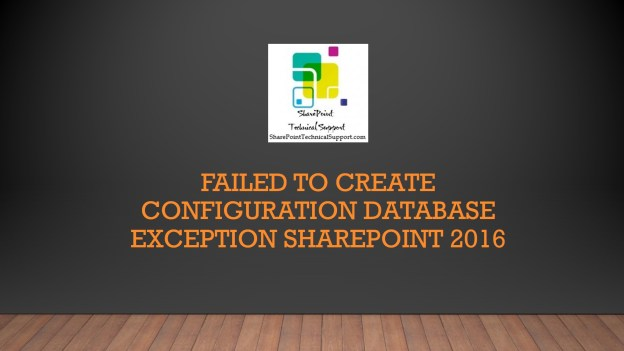 Failed to create configuration database 1920x1080