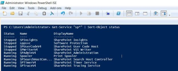 start stop manage services in windows server with powershell