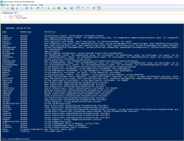PowerShell object members and variables