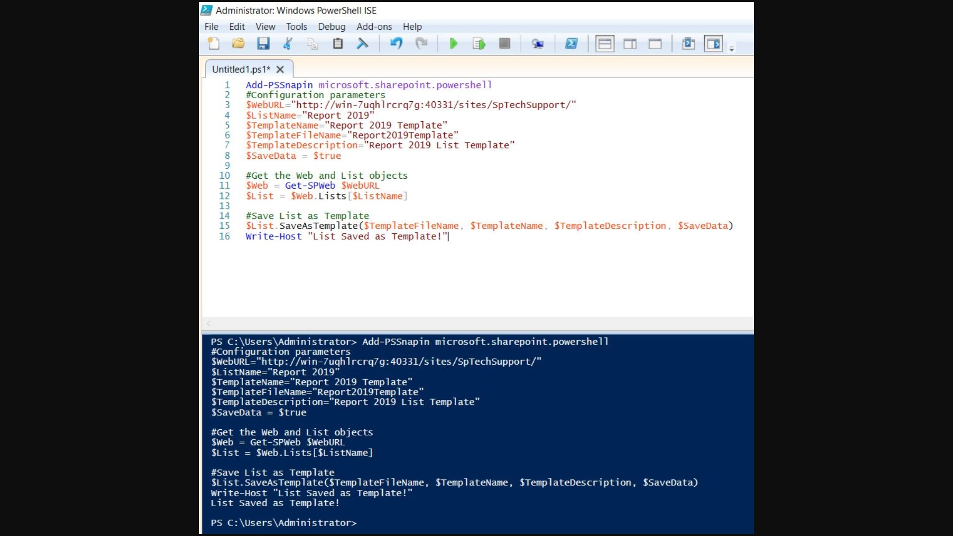 save list as template sharepoint 2019 powershell