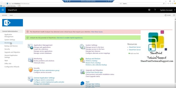 central admin in sharepoint 2019 application management