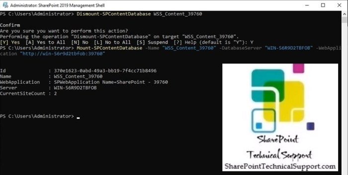 Dismount Mount content database in sharepoint 2019