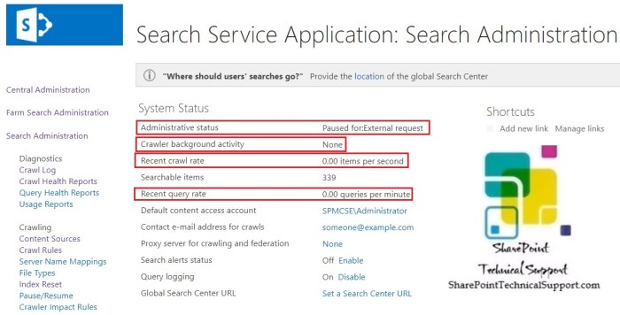 index reset task search administration
