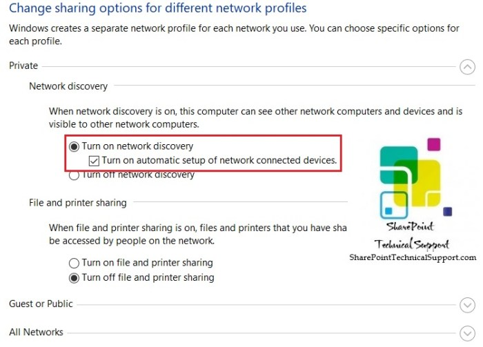 turn on network discovery privte network