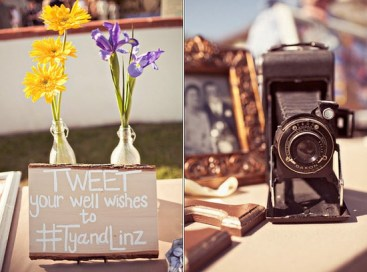 Tweeting well wishes at a tech-meets-vintage wedding