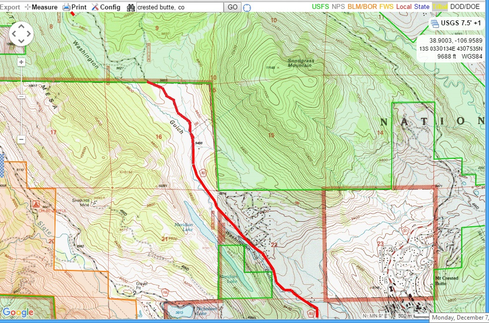 Washington Gulch Map