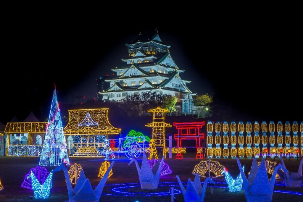 Osaka catle Ilumination, osaka Japan