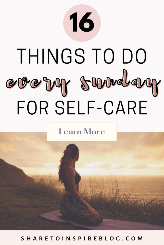 16 self care tips for a well spent Sunday Pinterest pin
