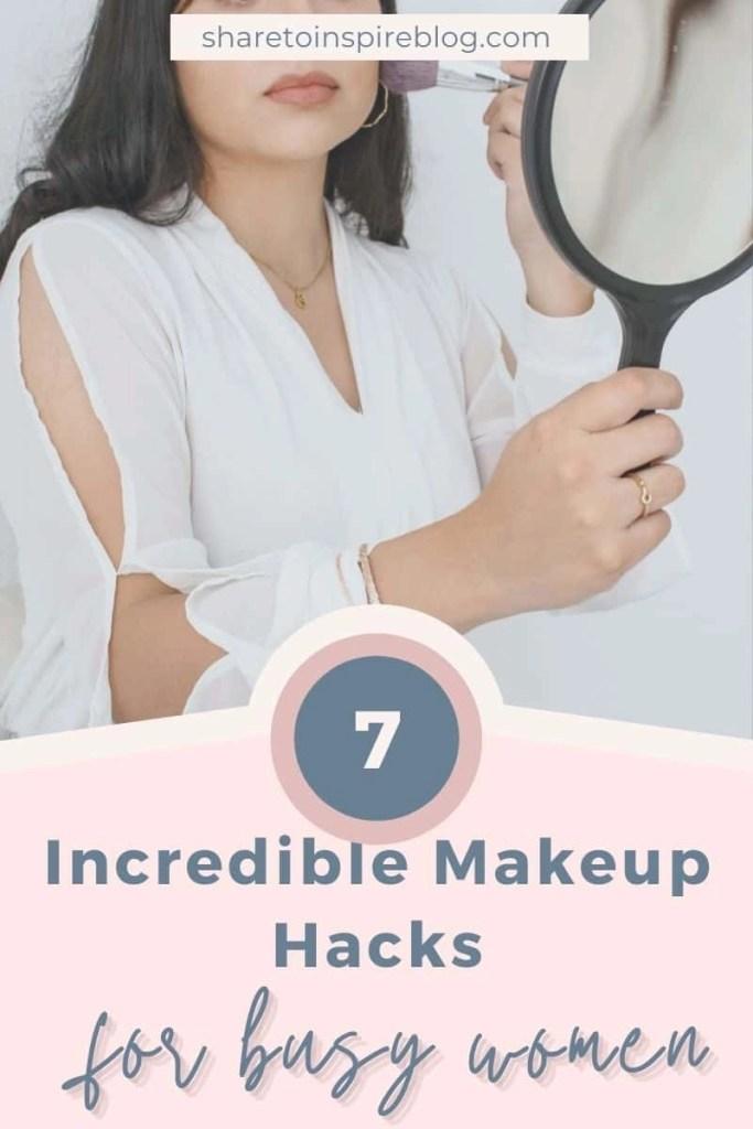 makeup hacks for busy women pin