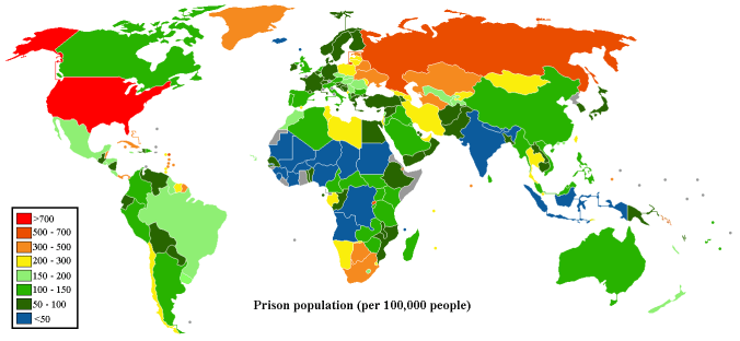World Map of Prison Population per 100,000 People