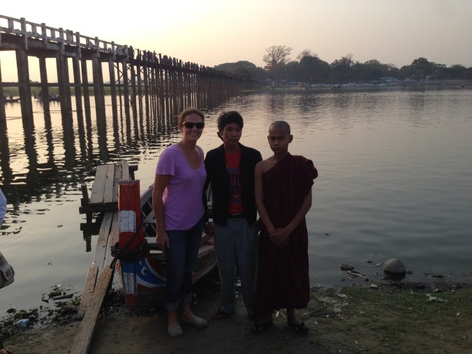 This young monk and his friend wanted a picture with my friend at U-Bein bridge