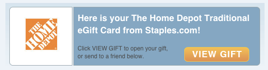 When you buy a gift card online it's delivered via email