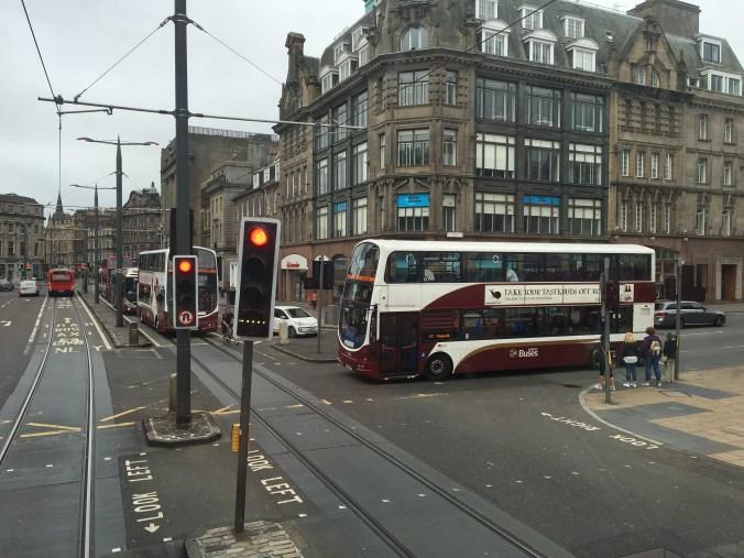 Busses dominate the streets of Edinburgh