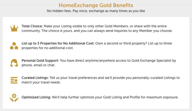 HomeExchange.com Gold features