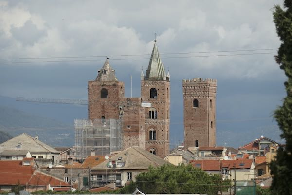 The towers of Albenga from the slopes of the Julia Augusta way