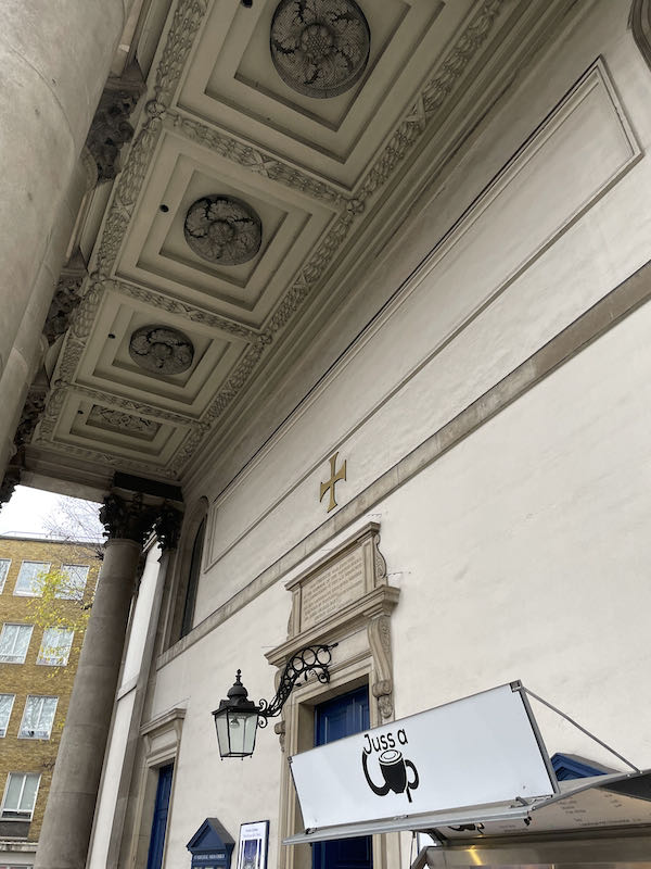 Outer portico of St Marylebone Parish Church on the Walking Dickensian London Marylebone tour