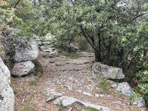 Ancient steps on the route of the La Colle to Tourette walk