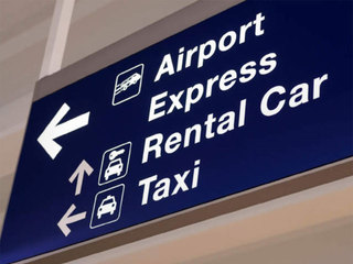 Airport rental car taxi sign-10933