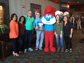 More of our loyal volunteers with some of our Sharing & Caring staff: (left to right) Adriana Barajas, Elsa Antony, Jeff Green, Steve Pangle, Papa Smurf, Jamie Hudson, and Irene Medrano