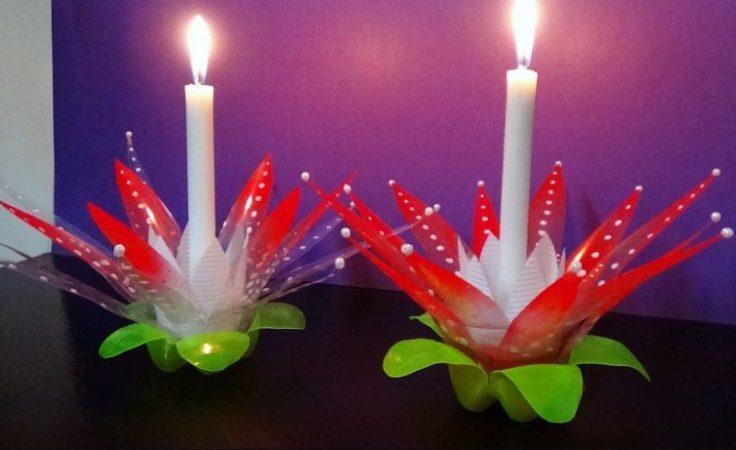 Tempat Lilin Dekoratif dari Limbah Plastik