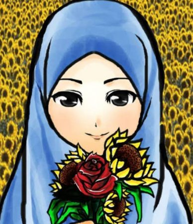 Gambar Kartun Muslimah Bawa Bunga