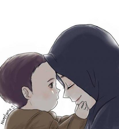 Gambar Kartun Muslimah dan Bayi
