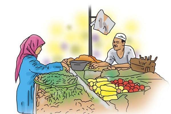 Gambar Kartun Pedagang Buah