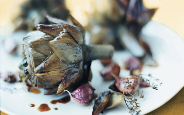Artichokes Braised with Garlic & Thyme