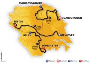 Map of the Tour de Yorkshire 2016 - courtesy Cycling Weekly