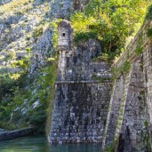 The old city wall of Kotor, Montenegro